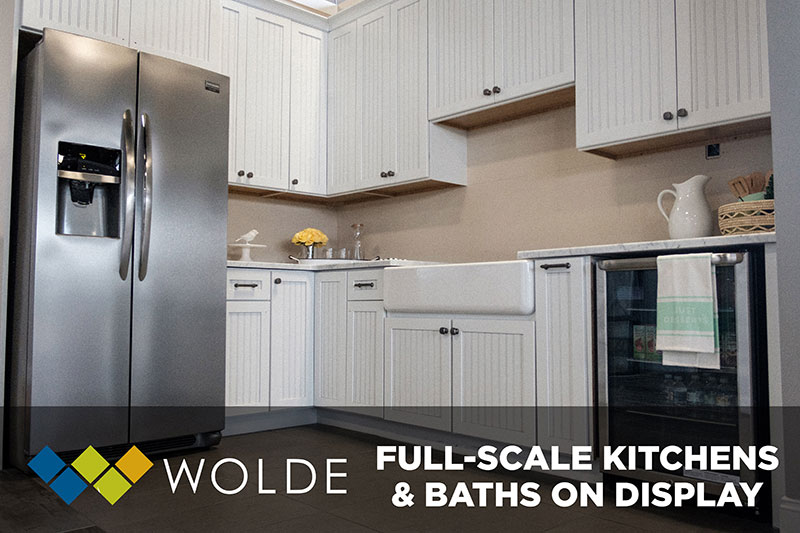 at Wolde Flooring in Madison, AL has many full scake kitchens & baths on display to help you visualize your kitchin & bath projects